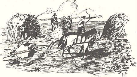 Drawing of threshing stone at work | Goessel Museum