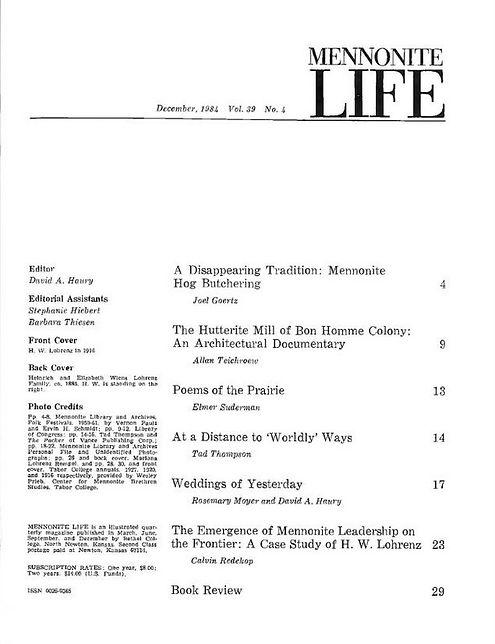 Hog Butchering Mennonite Life 1984 Index