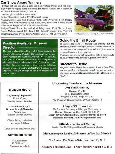 2015 MH&AM Fall newsletter pg. 2 | Goessel Museum