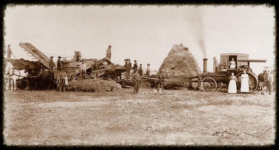 Threshing crew at David Voth farm 1897 | Goessel Museum