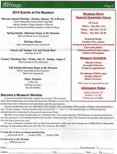 2014 MH&AM Fall newsletter pg. 2 | Goessel Museum
