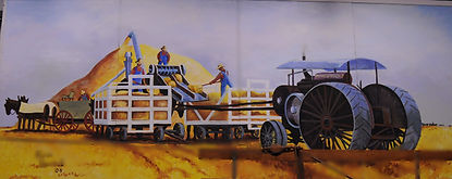 Country Threshing Days mural in Wheat Palace Goessel Museum