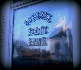 Goessel State Bank window | Goessel Museum