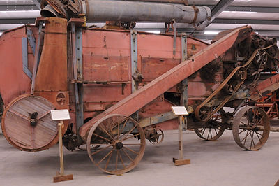 Threshing machine in Wheat Palace | Goessel Museum