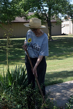 Janett W. keeps the flowerbeds under control