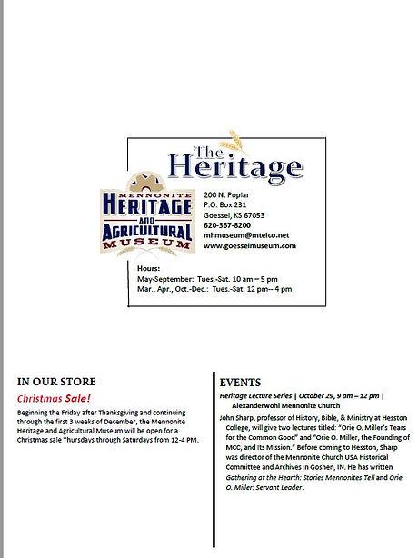 Heritage Newsletter 2016 pg. 2 | Goessel Museum