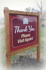 Thank You sign at end of Museum driveway | Goessel Museum