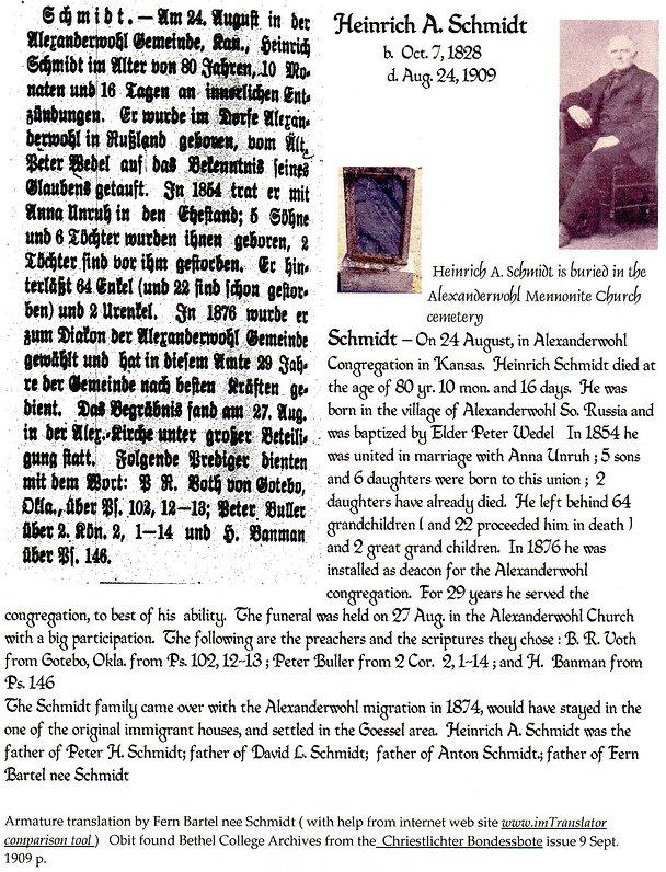Heinrich A. Schmidt obit | Goessel Museum