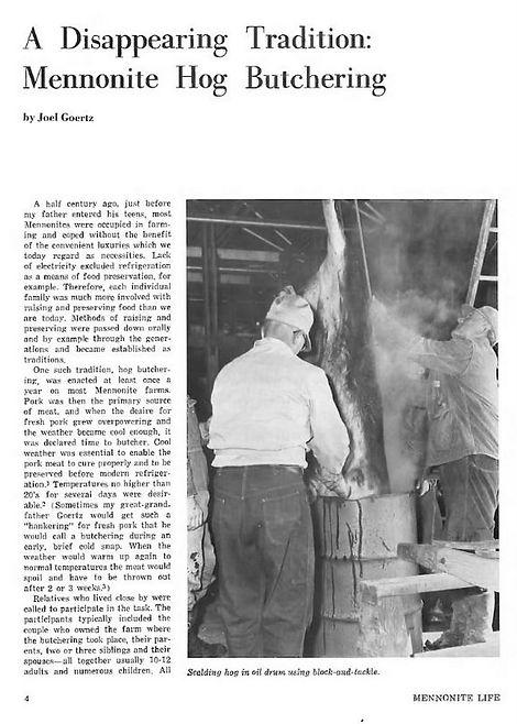 Hog Butchering Mennonite Life 1984 pg.4