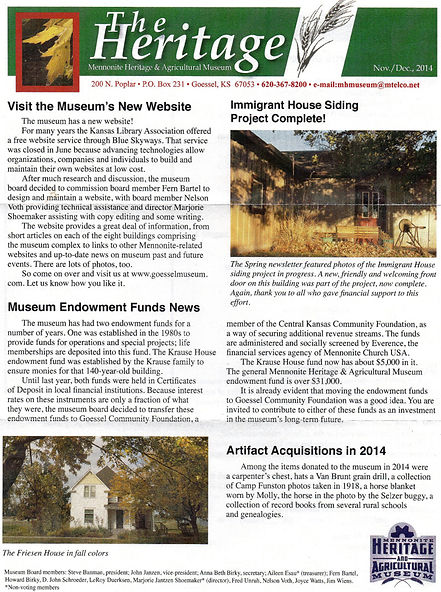 2014 MH&AM Fall newsletter pg. 1 | Goessel Museum