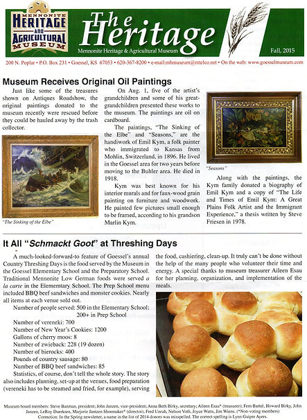 2015 MH&AM Fall newsletter pg. 1 | Goessel Museum