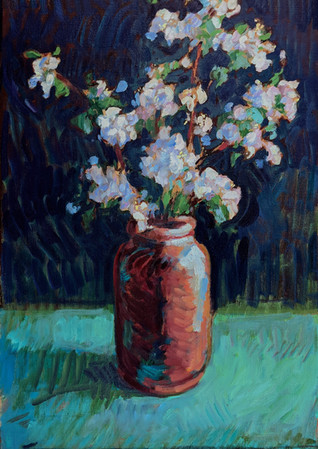 Apple Blossoms in Brown Vase  20x32  2021