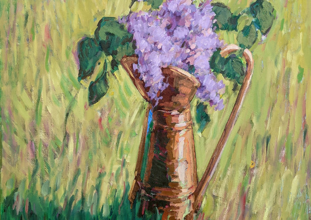 Lilacs in Copper Pitcher  28x32   2021