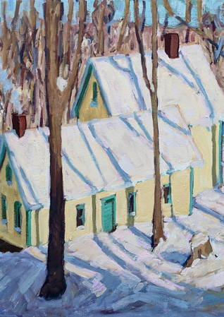 Yellow House in Snow  24x32  2021