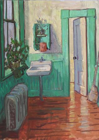 Hallway in Green  24x30  2021