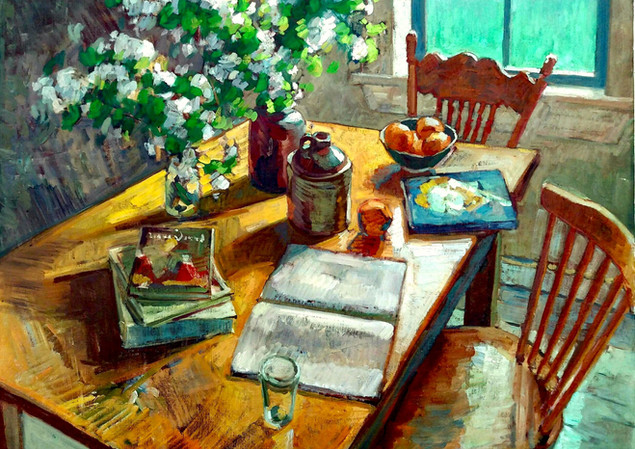 Blossoms and Books  100x120 cm 2020