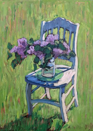Lilacs on White Chair  24x28  2021