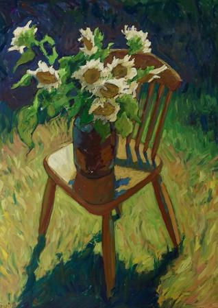 Sunflowers on Chair 80x100cm 2020
