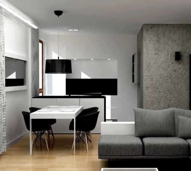 styl minimalistyczny | segment kuchenny z jadalnią