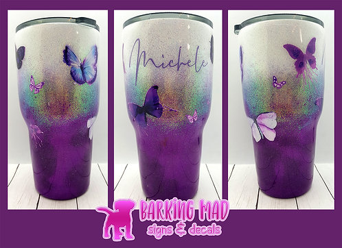 Butterfly Ombre Glitter Cup