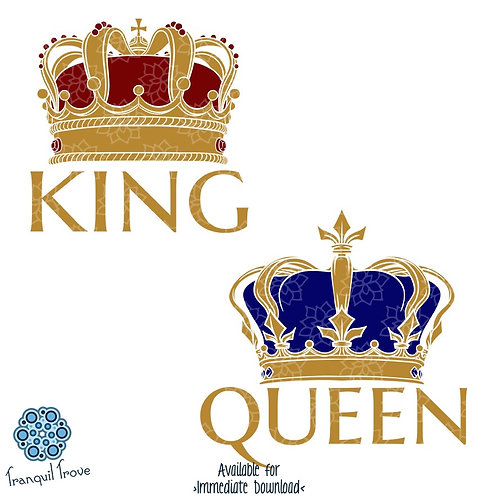 Detailed King and Queen crowns