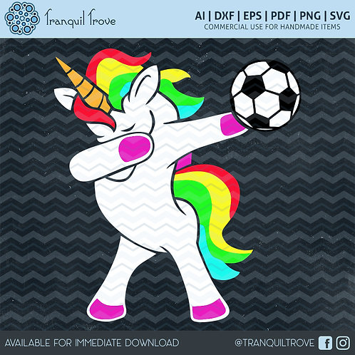 Dabbing Soccer Unicorn