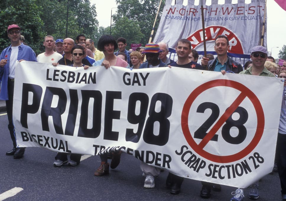 Scrap Section 28 Banner, Pride March, 1998