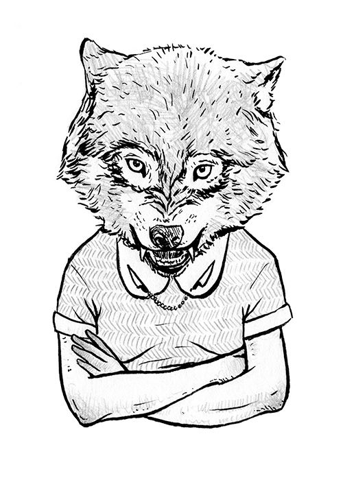 """Wolf In Girl's Clothing"" illustration by Grace Chomick"