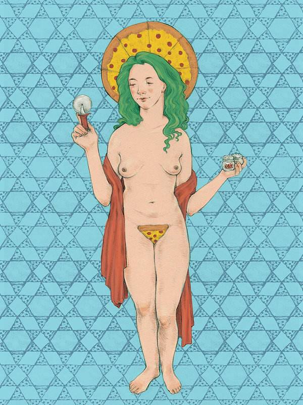 """Our Lady of Pizza"" illustration by Grace Chomick"
