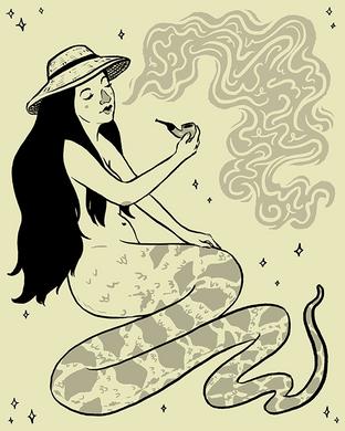 serpenttailedinahatsmokingapipe