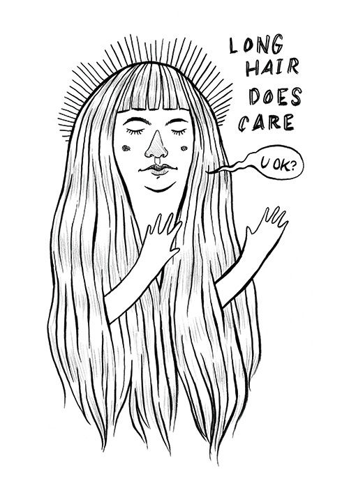 """Long Hair Does Care"" illustration by Grace Chomick"