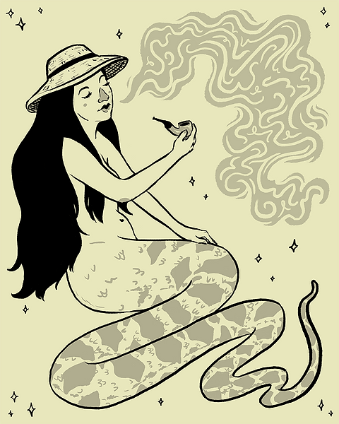 """serpenttailedinahatsmokingapipe"" illustration by Grace Chomick"