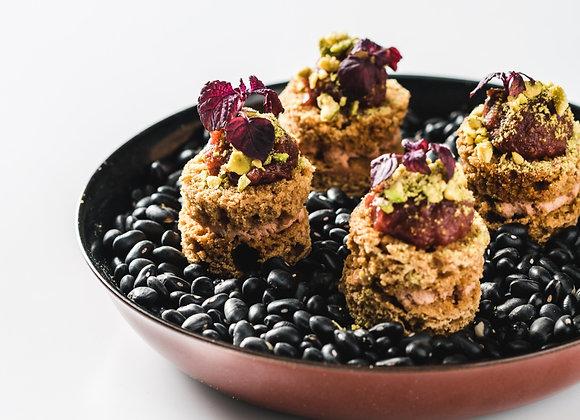Taartje van peperkoek met Foie Gras, pistache en vijg