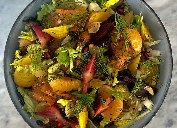 Salade met gerookte zalm, venkel & kalamansi dressing
