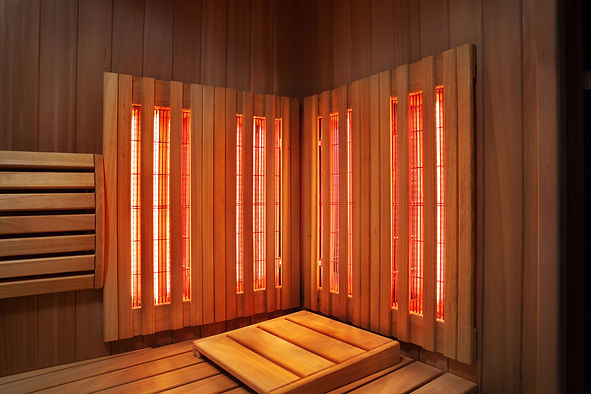Interior of Finnish sauna, infrared pane