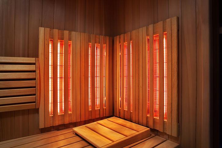 Interior of Finnish sauna, infrared pane