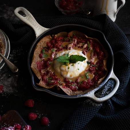 Oat Crepes with Raspberry and Apple Compote, Salted Tahini Caramel and Coconut Cream