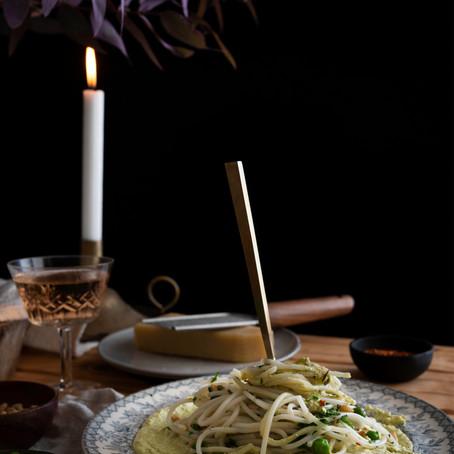Whipped vegan pea 'ricotta' with gluten free spaghetti