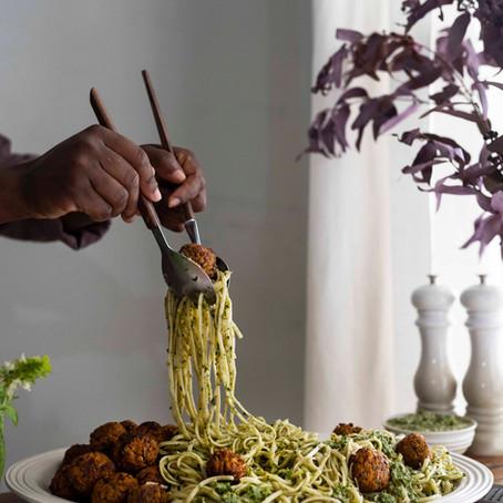 Lentil Veg Balls with Pesto Linguini