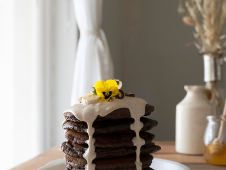 Cacao, Oat & Chickpea Flapjacks with Vanilla Coconut Cream