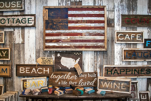 Custom Framed Hand Painted Signs on Reclaimed Barn Wood