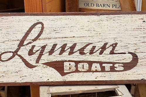 "Hand Painted ""Lyman Boats"" Sign Reclaimed Barnwood"