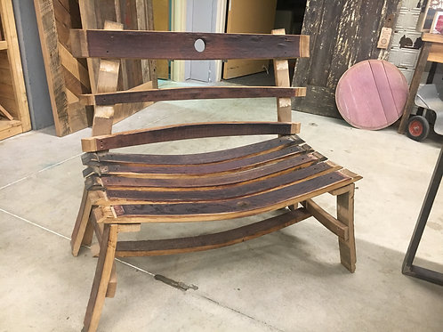 French Red Wine Barrel Bench with Back Rest