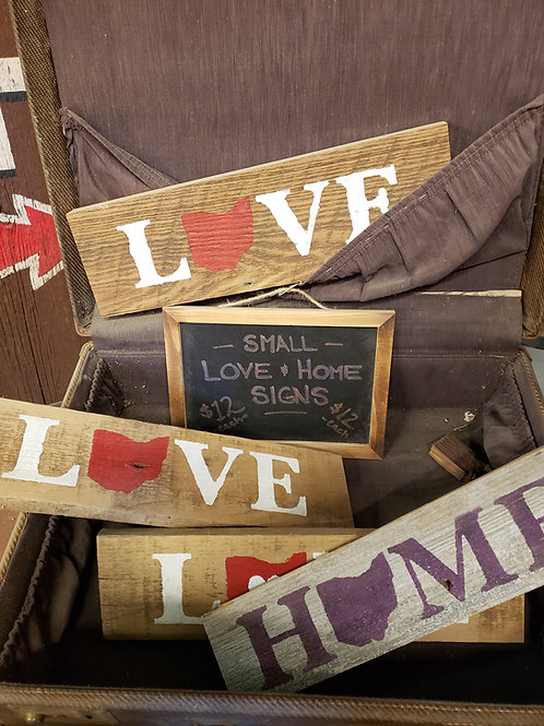 """Small Hand Painted """"Love"""" & """"Home"""" Signs Reclaimed Barnwood"""