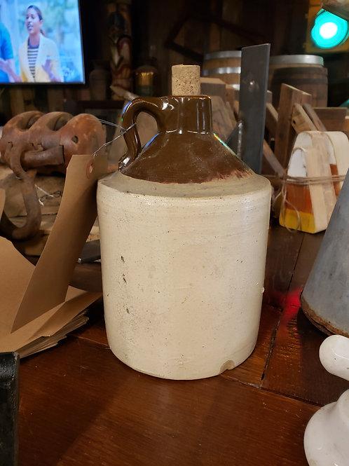 """Brown & White 9"""" Ceramic Whiskey Jug"""