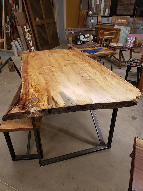 Spalted Maple Slab Desk w/ Industrial Steel Base