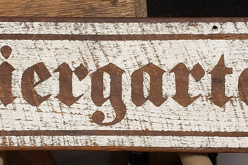 """Biergarten"" Hand Painted Sign on Reclaimed Barnwood"