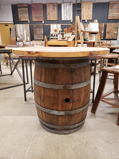 Wine Barrel Table with Round Farmhouse Top