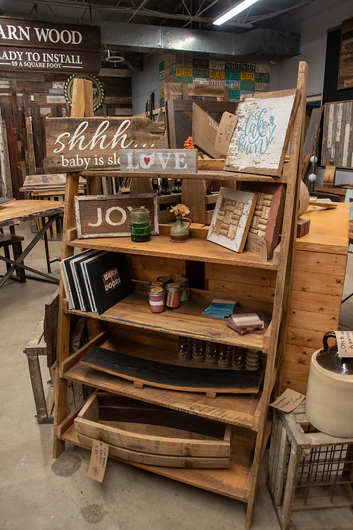 Rustic Farmhouse Ladder Shelf Reclaimed Barnwood
