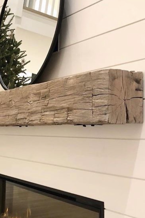 "5"" - 6""  Hand Hewn or Rough Sawn Barn Beam Mantle"